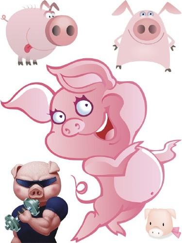 Рисованные свиньи и поросята