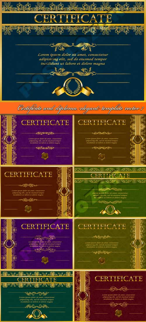 Certificate and diploma elegant template vector 7