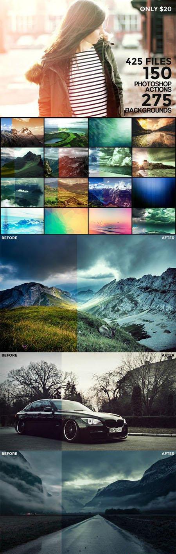 150 Photoshop Actions + 275 Backgrounds Bundle