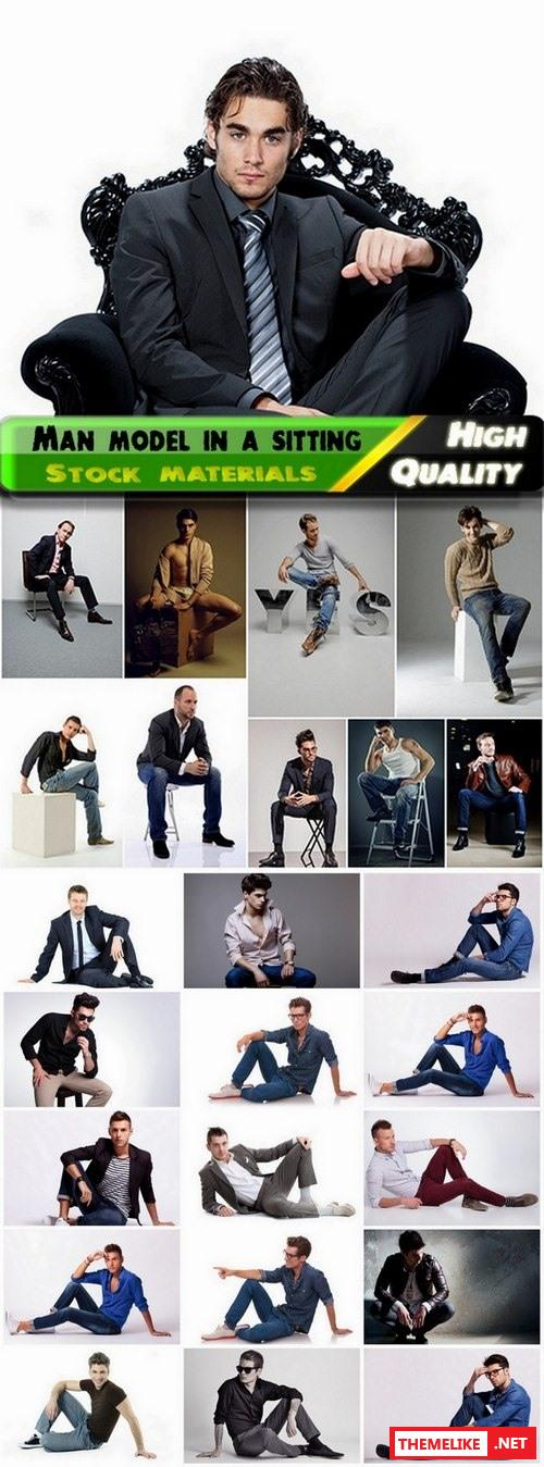 Male model in a sitting position - 25 HQ Jpg