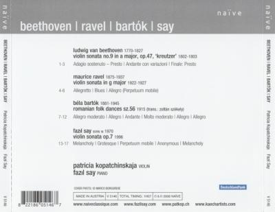 Fazil Say (piano), Patricia Kopatchinskaja (violin) – Beethoven, Ravel, Bartok, Say / 2008 Naïve