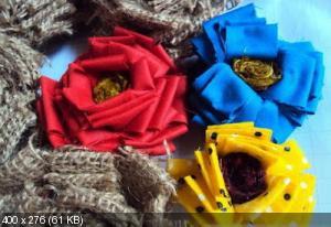 Цветы из мешковины, джута, шпагата 0a07ee12f5b727667f824d19cc91bf3e