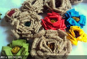 Цветы из мешковины, джута, шпагата D693b82fef8e9be608b055d313ea4f90