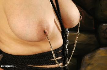 Steel chains and cuffs on juicy flesh